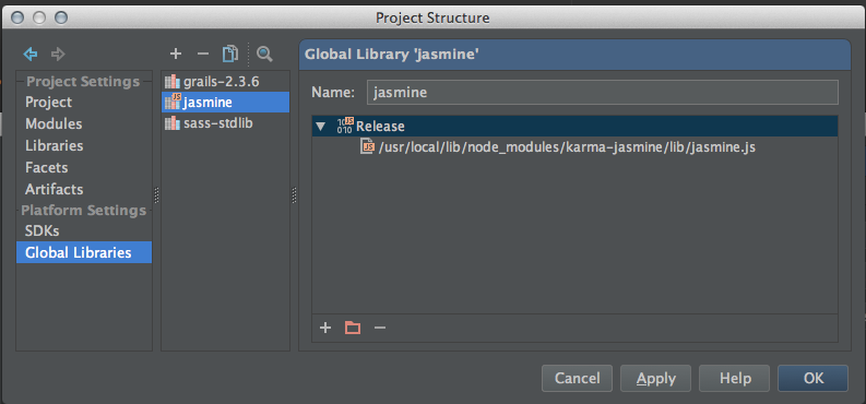 IntelliJ 13 Global Library Jasmine configuration