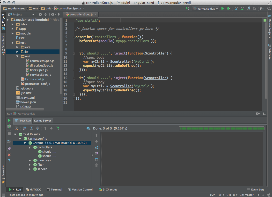 IntelliJ 13 running Karma Jasmine tests